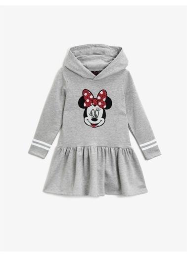 Koton Minnie Mouse Lisansli Baskili Uzun Kollu Kapüsonlu Elbise Gri